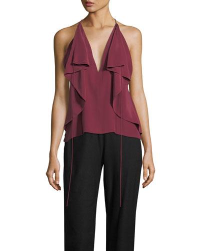 Deep-V Draped Silk Camisole Top