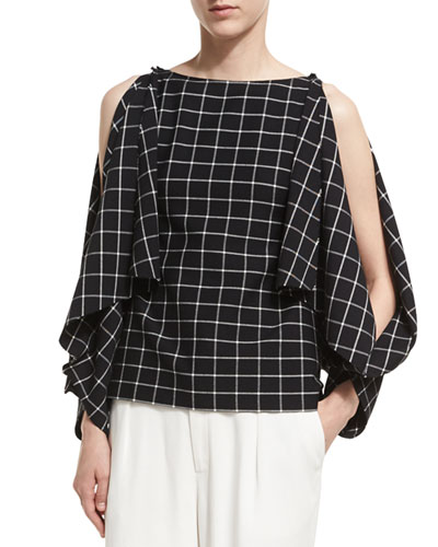Split-Sleeve Grid Crepe Top