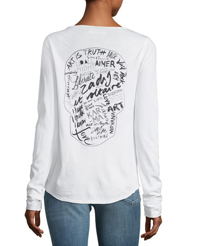 Tunisien Henley Long-Sleeve Cotton Tee with Graphic Print