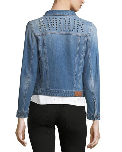 Kioky Button-Front Denim Jacket w/ Studded Trim