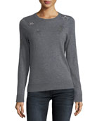 Miss Ter Crewneck Cashmere Sweater w/ Beaded Embellishment