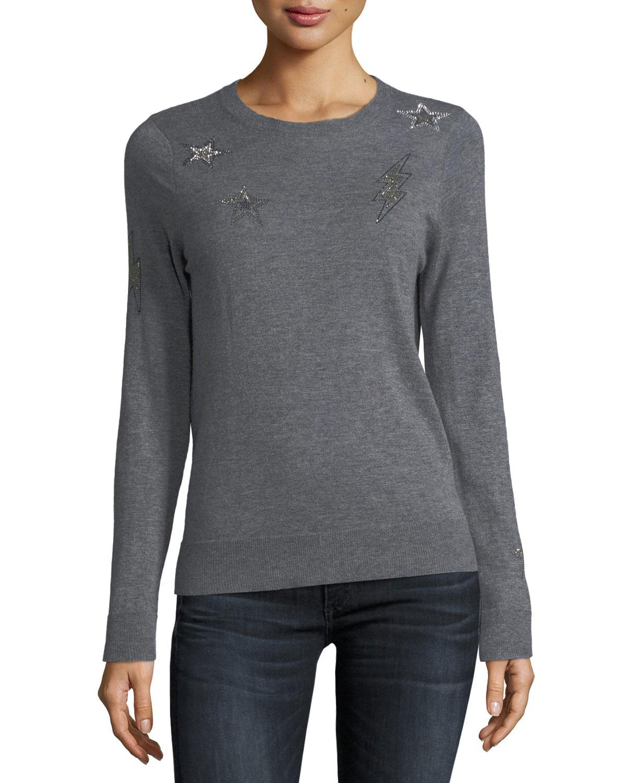 Miss Ter Crewneck Cashmere Sweater w Beaded Embellishment