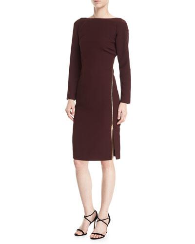 Victoire Bateau-Neck Asymmetric-Zip Cocktail Dress