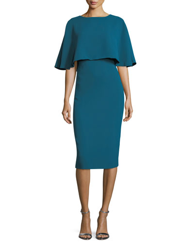 High-Neck Overlay Sheath Cocktail Dress
