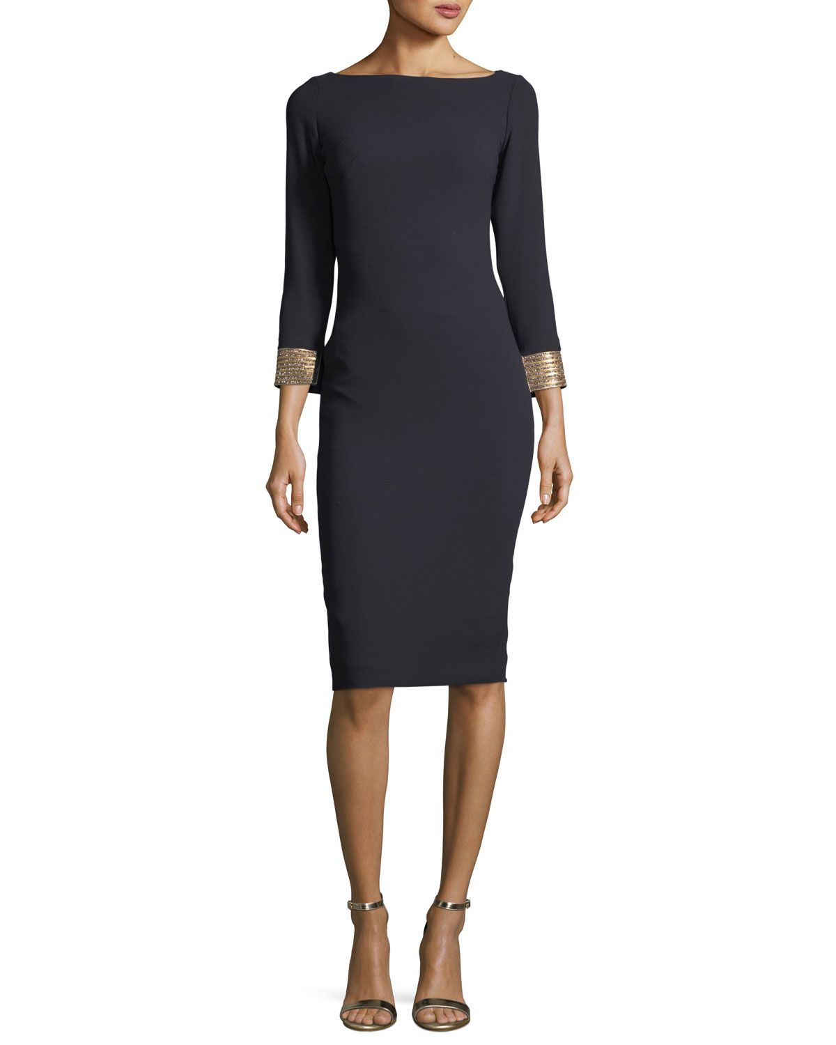 Long-Sleeve Bateau-Neck Jeweled-Cuffs Sheath Dress