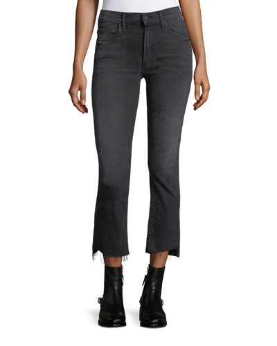 Insider Crop Step-Fray Denim Jeans w/ Lace Insets