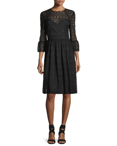 Lattice Lace Midi Dress w/ Trumpet Sleeves