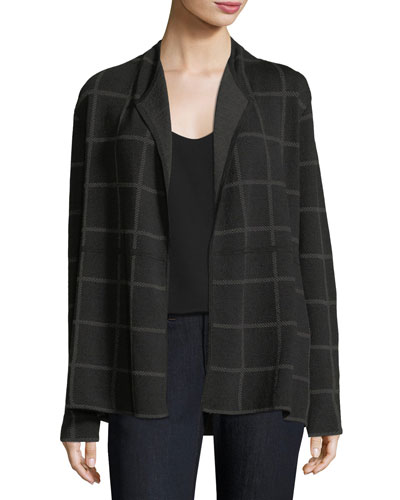 Fine Windowpane Crepe Open Cardigan, Petite