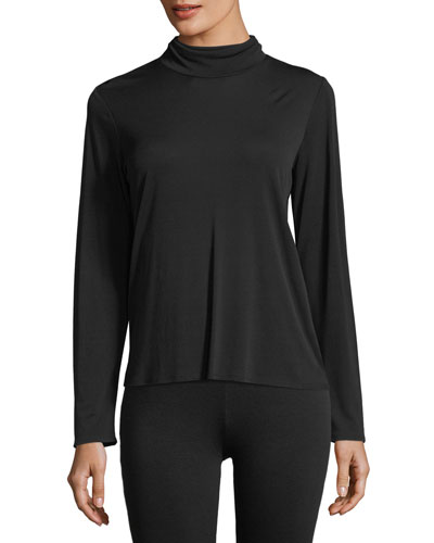 Silk Jersey Scrunch-Neck Top
