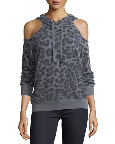 Leopard-Print Hooded Cold-Shoulder Sweatshirt