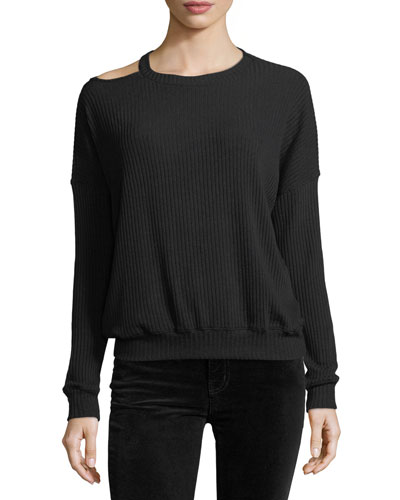 Melange Sylvie Rib-Knit Sweater w/ Cutout