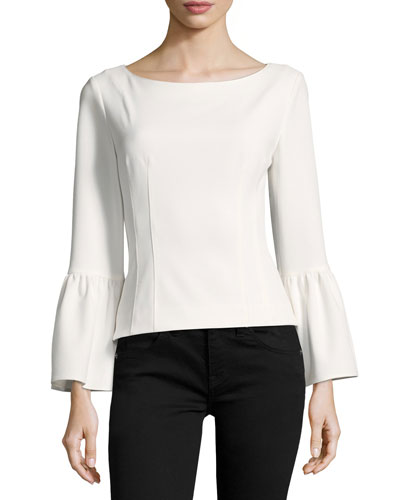 Bell-Sleeve Corset Stretch-Crepe Top