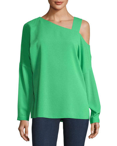 Cutout-Shoulder Crepe Top