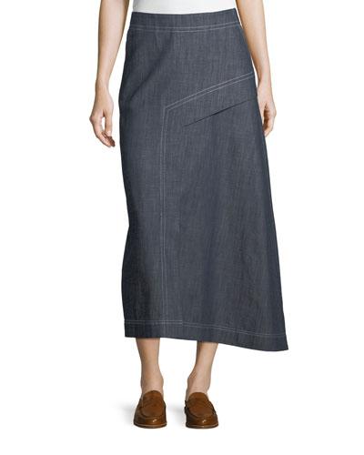 Asymmetric A-Line Midi Denim Skirt
