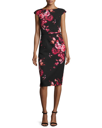 Cap-Sleeve Belted Floral Sheath Dress, Red/Black