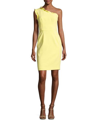 Pravella One-Shoulder Ponte Cocktail Dress