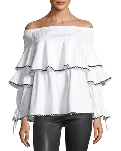 Off-the-Shoulder Piped-Ruffle Blouse