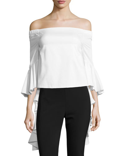 Flared-Cuff Off-the-Shoulder Blouse