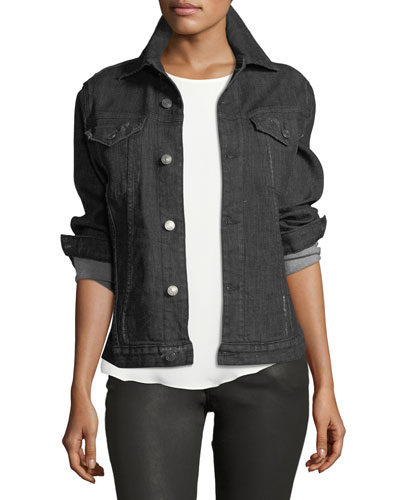 Rihanne Button-Front Denim Jacket
