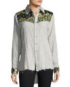 Hana Long-Sleeve Button-Down Striped Cotton Shirt w/ Sequins