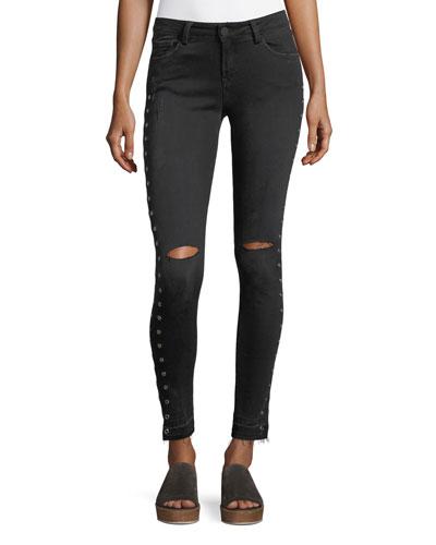 Kika Mid-Rise Skinny-Leg Ankle Jeans w/ Grommets