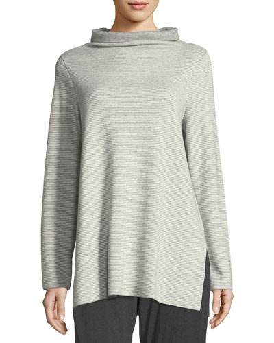 Funnel-Neck Ribbed Organic Cotton & Cashmere Tunic, Plus Size
