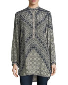 Natasha Long-Sleeve Geometric-Print Tunic, Plus Size