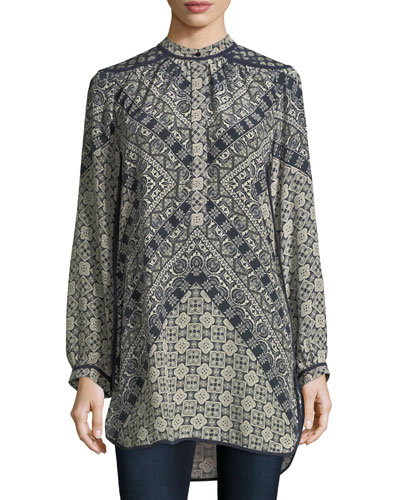 Natasha Long-Sleeve Geometric-Print Tunic