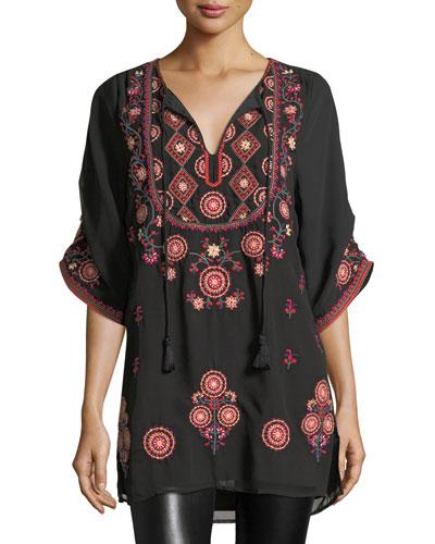 Khalisse Half-Sleeve Embroidered Tunic, Plus Size