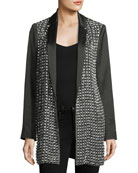 Jace Embellished Notched-Collar Oversized Blazer