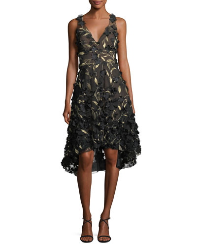 High-Low 3D Petal Cocktail Dress