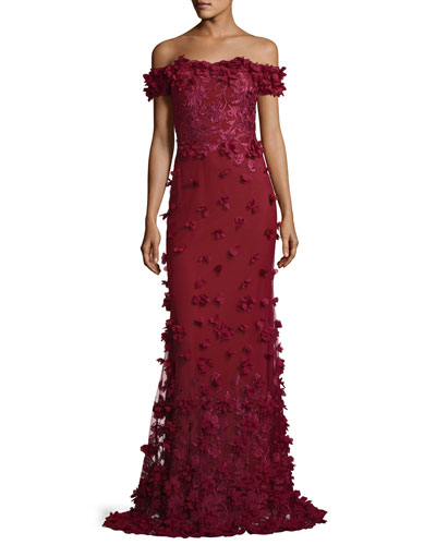 Off-the-Shoulder Column Evening Gown w/ 3D Petals