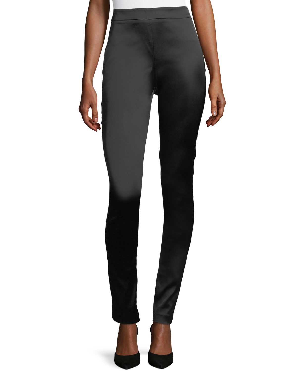High-Waist Side-Zip Satin Leggings