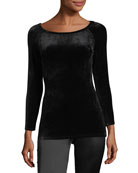Ennalyn B Boat-Neck Fitted Velour Top