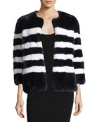 Striped Rabbit Fur Coat