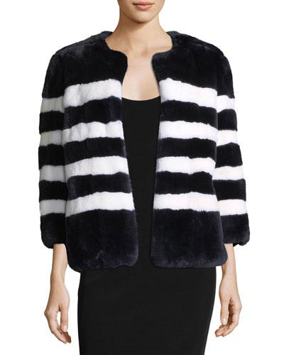 Striped Rabbit Fur Coat