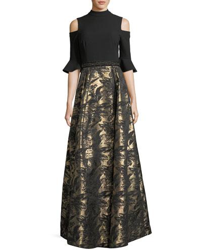Cold-Shoulder Top Jacquard Skirt Evening Gown