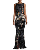 Floral-Print Burnout Velvet Drape Back Evening Gown