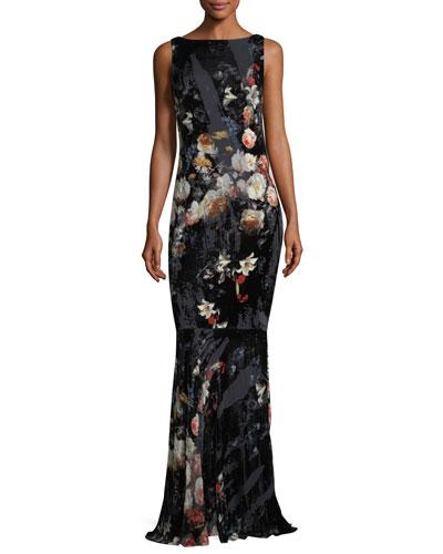 Floral-Print Burnout Velvet Drape Back Evening Gown
