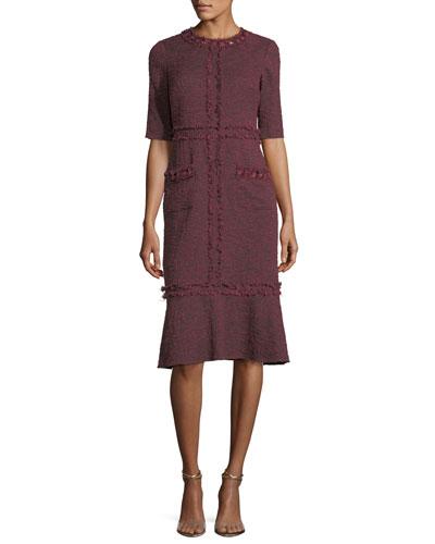Tweed Cocktail Dress w/ Bead Trim