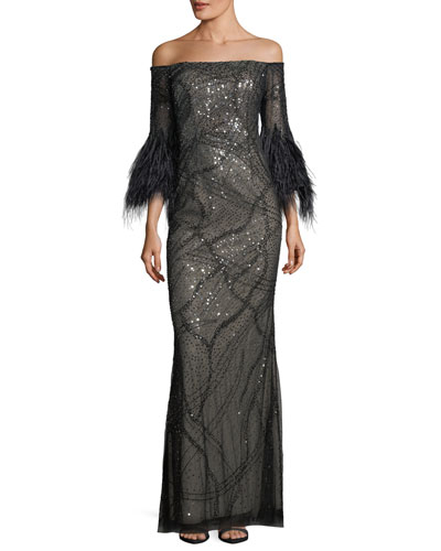 Off-the-Shoulder Sequined Evening Gown
