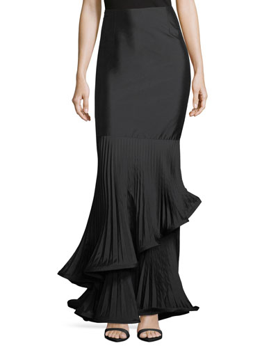 Taffeta Long Skirt w/ Pleated Ruffle Trim