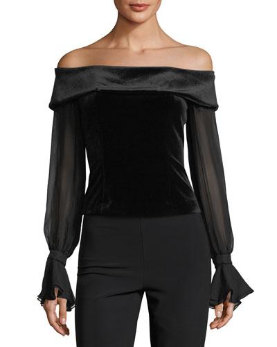 Off-the-Shoulder Velvet Chiffon-Sleeve Top