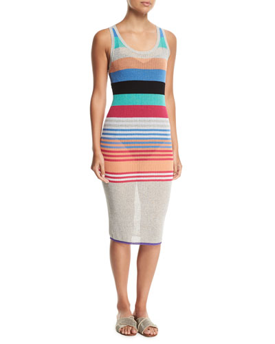 Sleeveless Semisheer Striped Knit Beach Dress