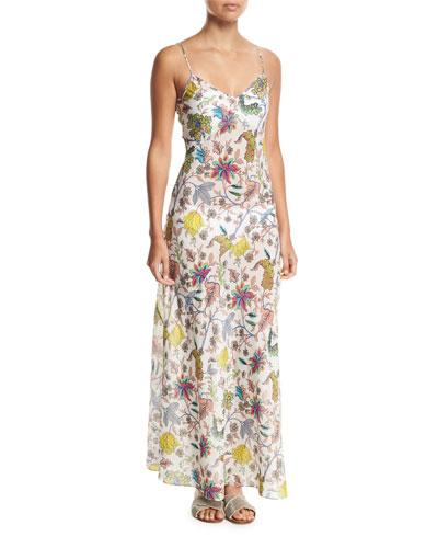Sleeveless Floral-Print Bias-Cut Coverup Slip Dress