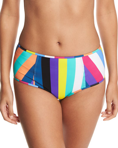 High-Waist Striped Swim Bottoms