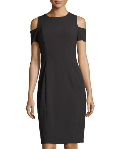 Cold-Shoulder Crepe Sheath Dress