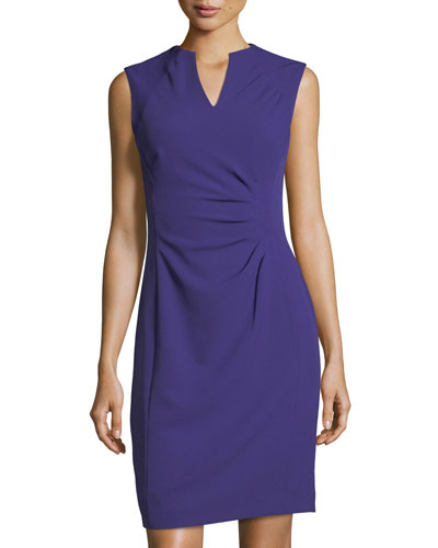 Split-Neck Side-Ruched Dress