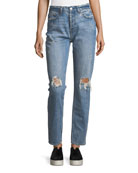 Olivia Mid-Rise Straight-Leg Distressed Jeans