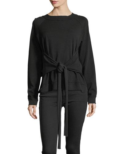 Rosi Tie-Waist Sweater Raglan Sweater